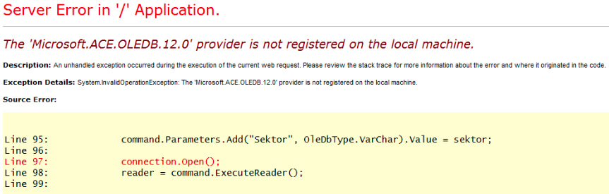 Microsoft.ACE.OLEDB.12.0 provider is not registered on the local machine exception