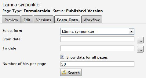 EPiServer Form Data tab with the checkbox Show data for all pages checked