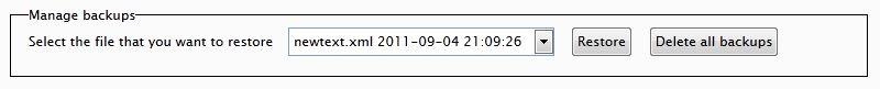 Language File Editor 1.0 - Backup controls.