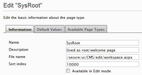 Information tab of the EPiServer SysRoot PageType