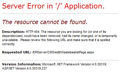 EPiServer Wastebasket.aspx or workspace.aspx cannot be found 404 page