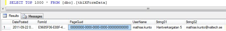 EPiServer table tblXFormData with faulty PageGuid entry