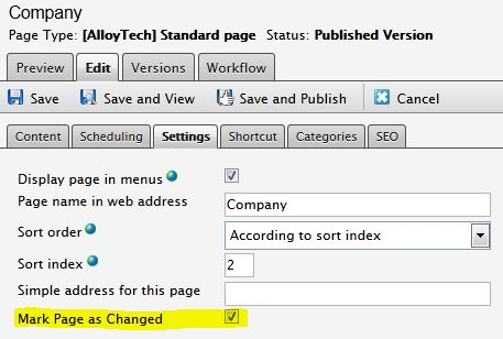 The Mark page as changed checkbox in EPiServer edit mode Settings tab.