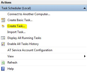 Windows Task Sheduler Actions Panel