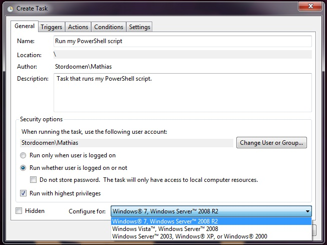 Windows Task Scheduler General Tab