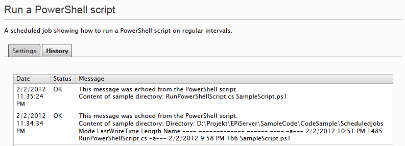 EPiServer job PowerShell script run success