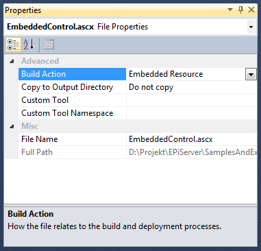 Embedded EPiServer resources, The Visual Studio 2010 properties of an embedded resource.