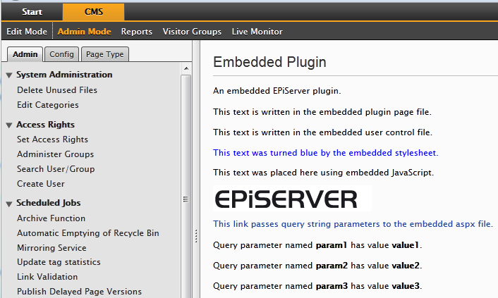 Embedded EPiServer resources, The EPiServer Admin Mode interface showing the GuiPlugIn for the example code.