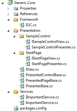 MVP solution Visual Studio 2010 solution explorer, Generic.Core.