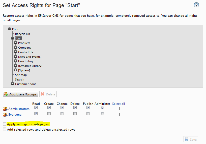 The Set Access Rights functionality in EPiServer admin mode without the PageType filter