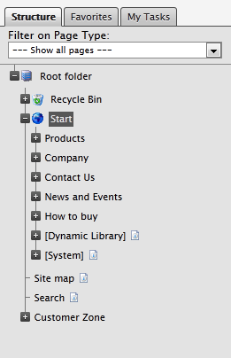 The page tree filter control showing all pages in the EPiServer edit mode page tree