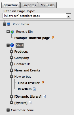 The page tree filter control showing only pages of standard page type in the EPiServer edit mode page tree