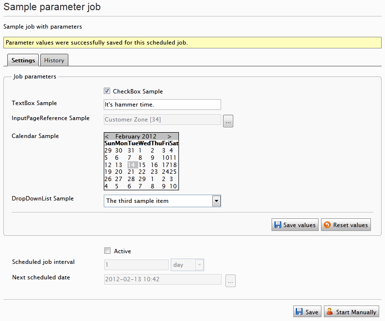 EPiServer scheduled job with paramaters - Sample job settings tab with parameters.