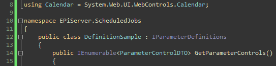 Troubleshooting the scheduled parameter job, Definition sample class.