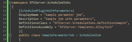 Troubleshooting the scheduled parameter job, Sample parameter job class.