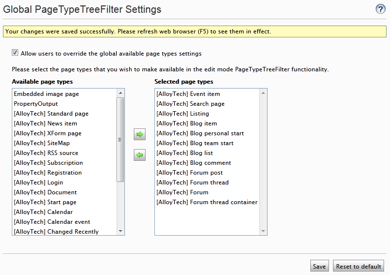 Global settings interface for the PageTypeTreeFilter functionality