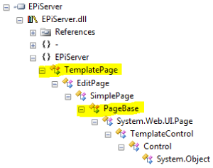 EPiServer inheritance for TemplatePage EditPage SimplePage and PageBase