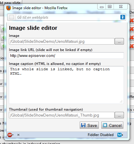 Nivo Slider EPiServer custom property slide editor window.