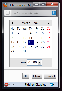 The EPiServer Date browser pop-up window.
