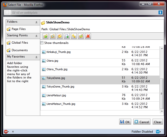 The EPiServer File Browser popup window.