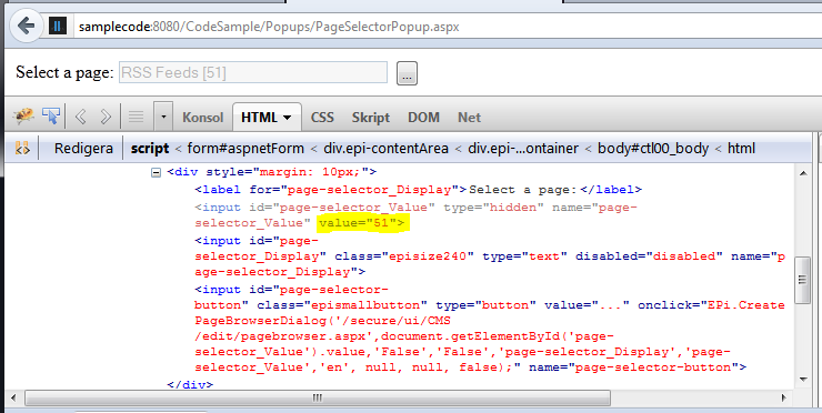 Adding an EPiServer page selector manually without server side controls.