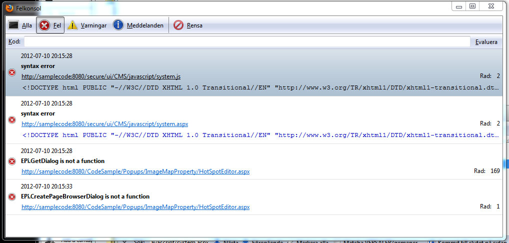 JavaScript Syntax Error accessing EPiServer javascript system.js and system.aspx.