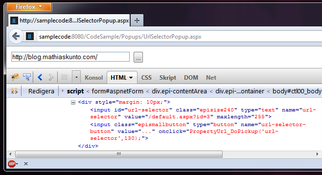The Url selector control from the demo code.