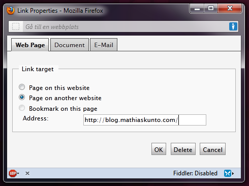 The EPiServer Url Selector popup window.