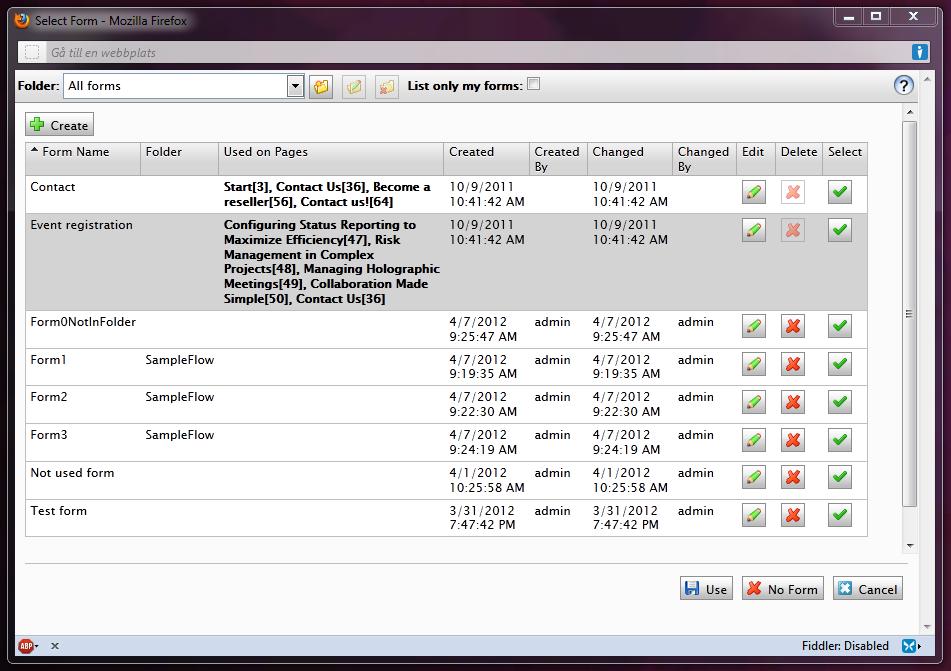 The EPiServer XForm browser pop-up window.