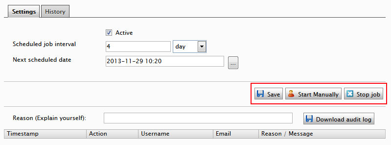 Extended EPiServer Scheduled Job interface showing buttons triggering log functionality.
