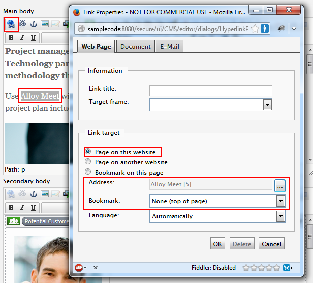EPiServer Insert link dialog controls affected by the bookmark functionality.