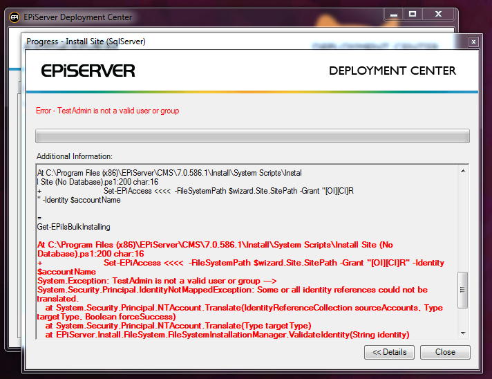 EPiServer's Deployment Center Error when installing EPiServer 7 without valid user or group.