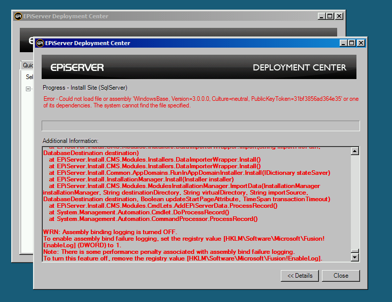 EPiServer Deployment Center failing to install Alloy public templates because WindowsBase.dll cannot be loaded.