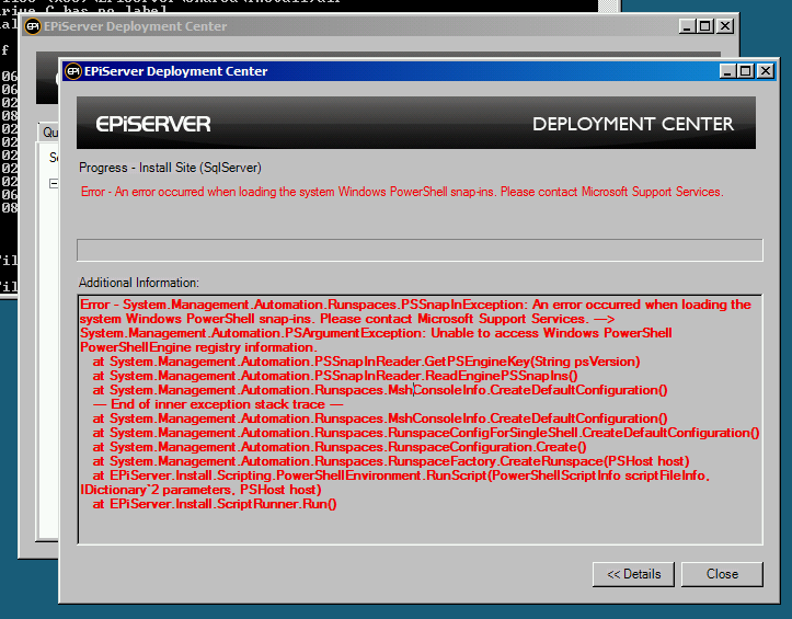 Error in EPiServer's Deployment Center when it is unable to load PowerShell snap-ins.