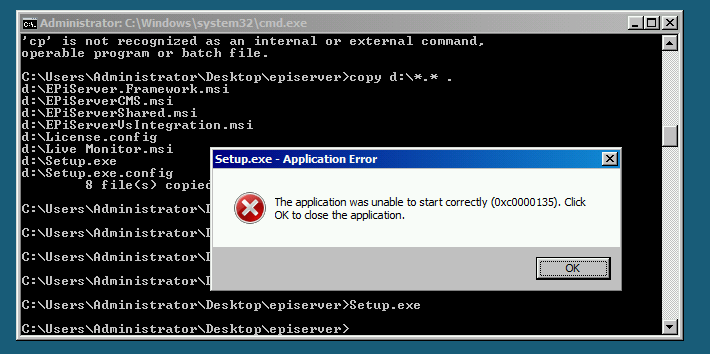 EPiServer installer is unable to start correctly.