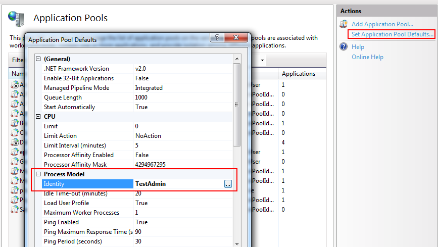 IIS settings for default application pool configuration.