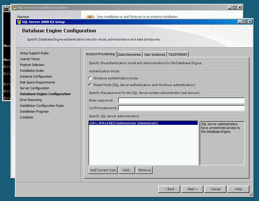 Selecting Mixed Mode Authentication while installing Microsoft SQL Server Express Edition.