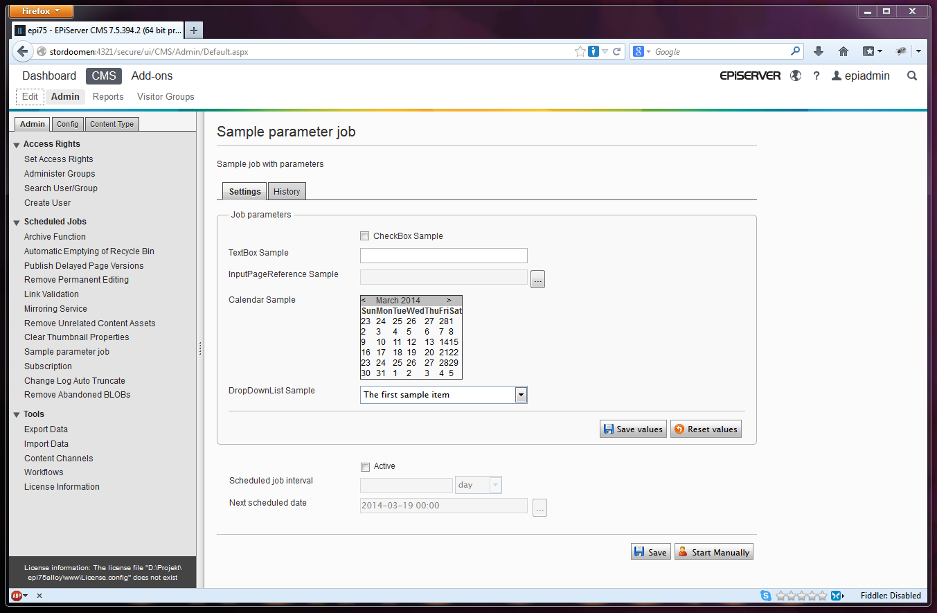 Scheduled job with input parameters in EPiServer 7.5