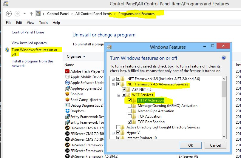 WCF HTTP Activation on Windows 8