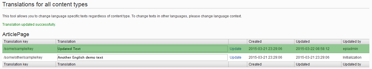 Updated text in EPiServer global menu language tool.