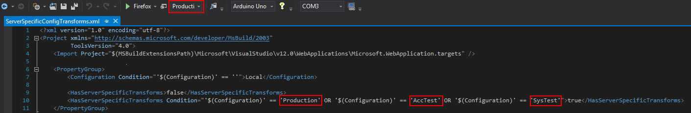 MSBuild Server specific config transforms - Solution configuration
