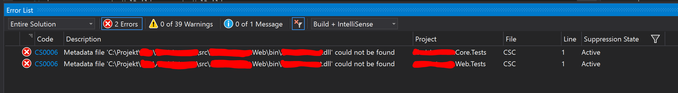 Error code CS0006 when building Visual Studio project.
