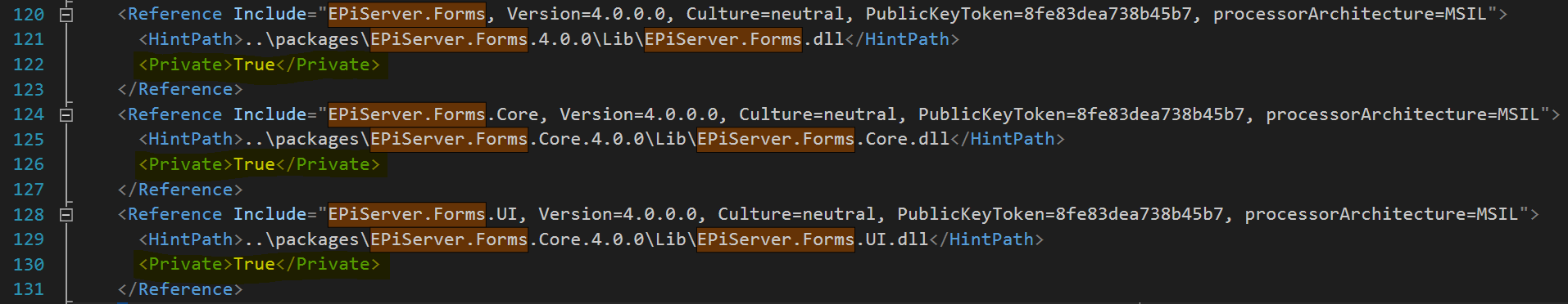 Csproj file with private tag value true on references with the Copy Local property set in Visual Studio.
