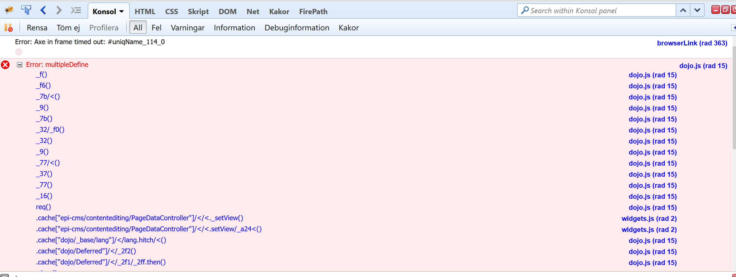 JavaScript error in EPiServer's edit mode causing dojo functionality to malfunciton.