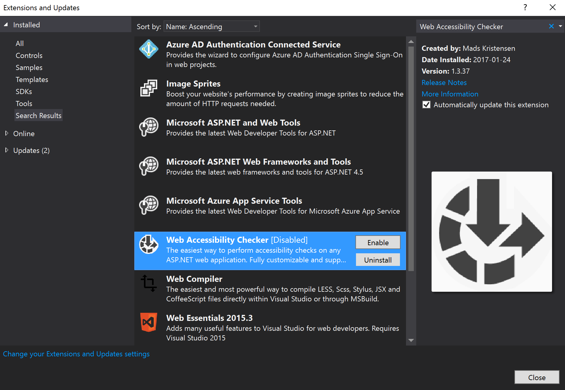 The Extensions and Updates window in Visual Studio 2015.