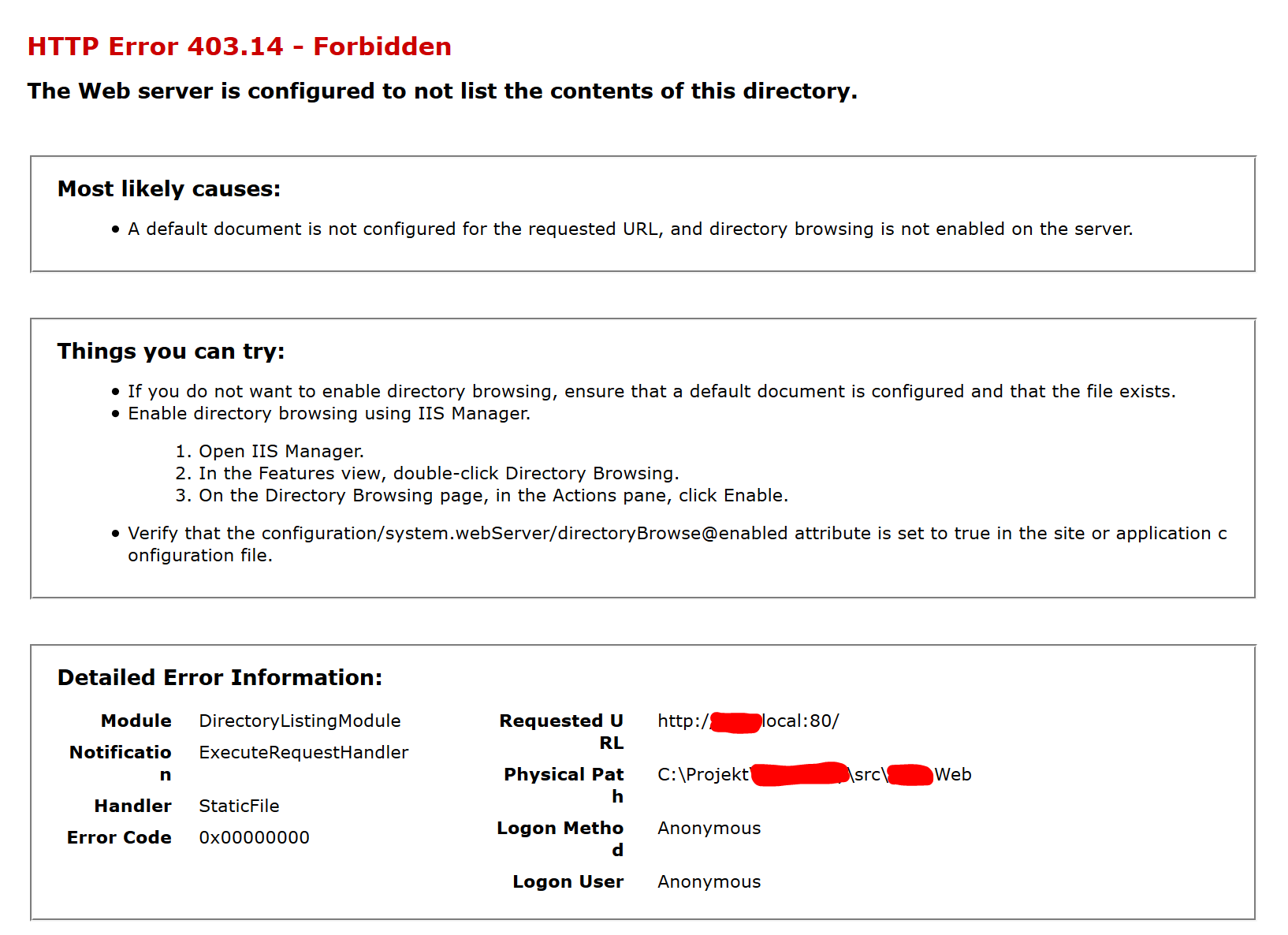EPiServer website view mode giving a 403.14 Forbidden HTTP Error message.