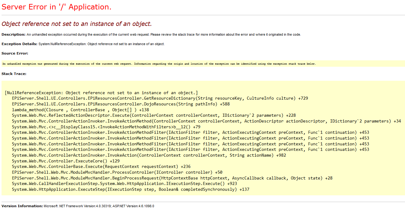 NullReferenceException thrown by EPiServerResourcesController in the GetResourcesDictionary method.