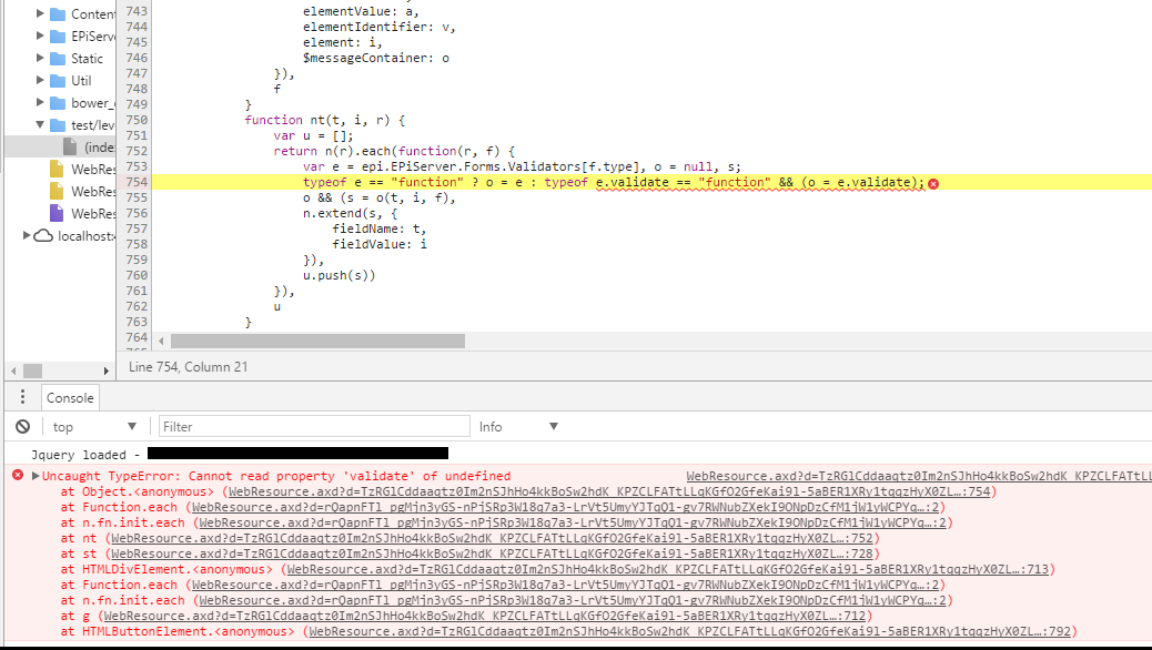 EPiServer Forms custom validation fails with JavaScript Error cannot read property 'validate' of undefined.