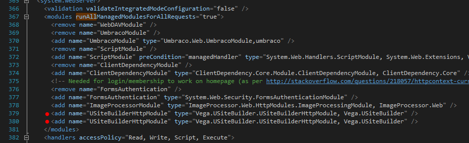 Vega IT's uSiteBuilder adding module twice in web.config breaking Umbraco CMS.