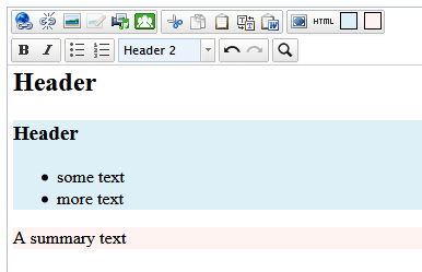 EPiServer Xhtml editor with two new buttons.